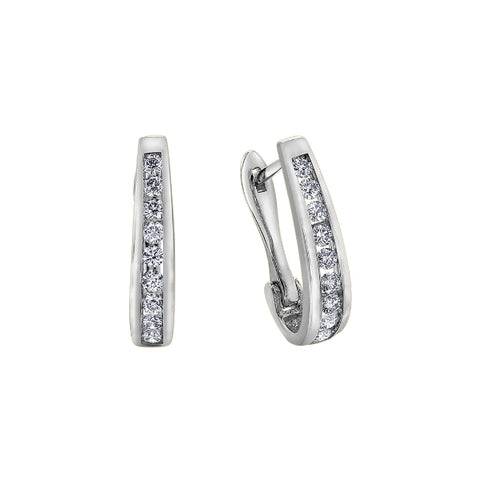 10k White Gold & Diamond Hoop Earrings