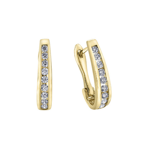 10k Yellow Gold & Diamond Hoop Earrings