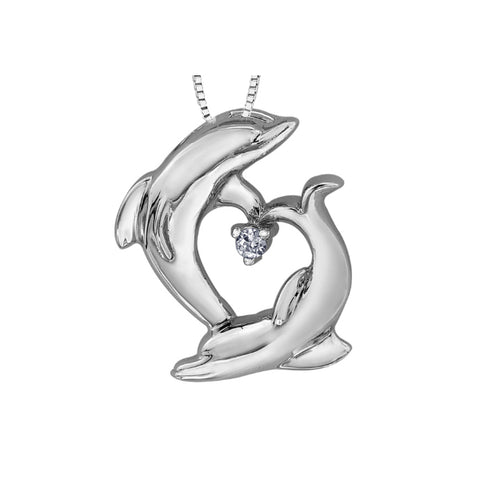 10k White Gold & Diamond Dolphin Necklace