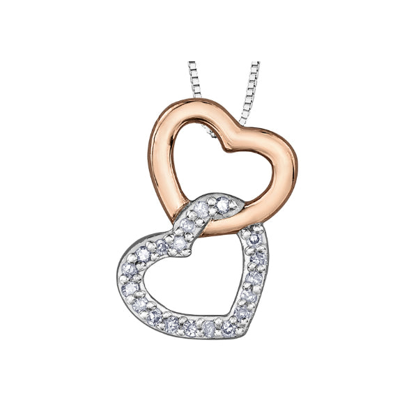 3a8bf591c 10k Rose & White Gold Diamond Double Heart Necklace – Carters ...