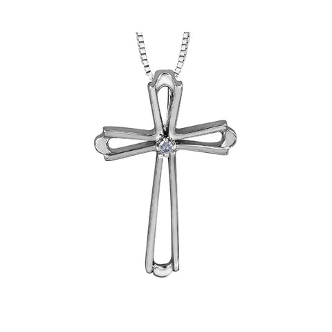 10k White Gold & Diamond Cross Necklace