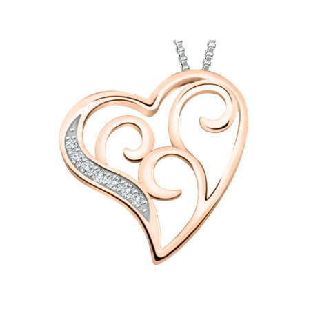 10k White & Rose Gold Diamond Heart Earrings