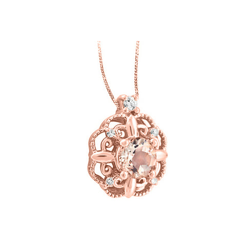 10k Rose Gold Morganite & Canadian Diamond Necklace
