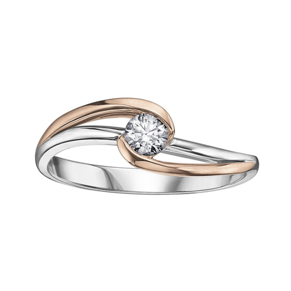 14k White & Rose Gold Canadian Diamond Engagement Ring – Carters
