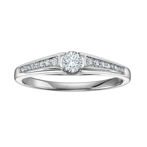10k White Gold Canadian Princess Cut Diamond Halo Engagement Ring