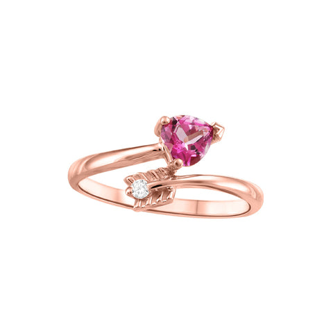10k Rose Gold Pink Topaz and Canadian Diamond Ring
