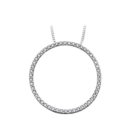 10k White Gold & Diamond Circle Necklace