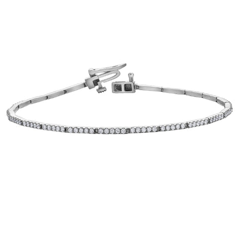 10k White Gold 1.00ctw Diamond Tennis Bracelet
