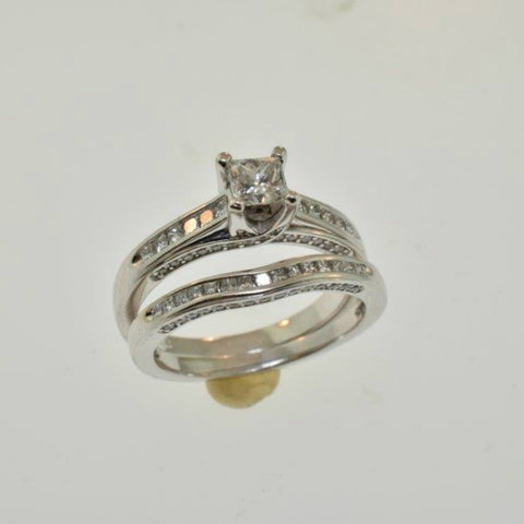 14k White Gold 1.00ctw Princess Cut Matching Set