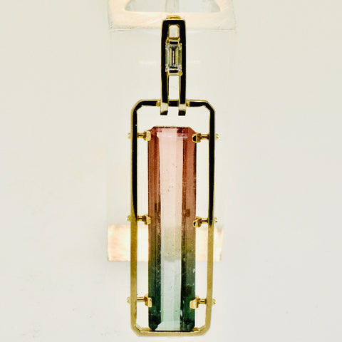 10k White Gold Bi-Colored Tourmaline Pendant