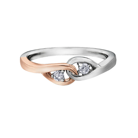 10k White & Rose Gold 'Together Forever' Diamond Ring