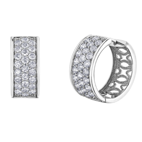 10k White Gold 4.00ctw Pave Diamond Hoops