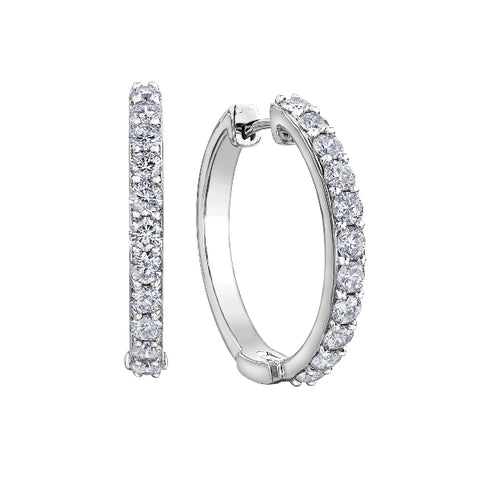 10k White Gold 1.00ctw Diamond Hoop Earrings