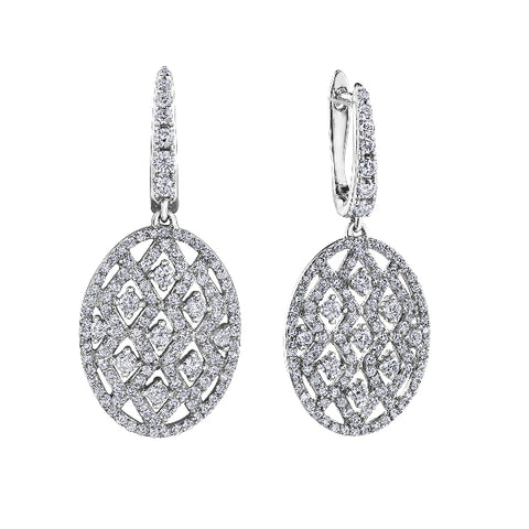 10k White Gold 1.50ctw Diamond Dangle Earrings