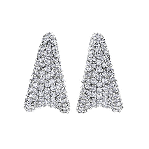 10k White Gold 2.25ctw Diamond Pave Earrings