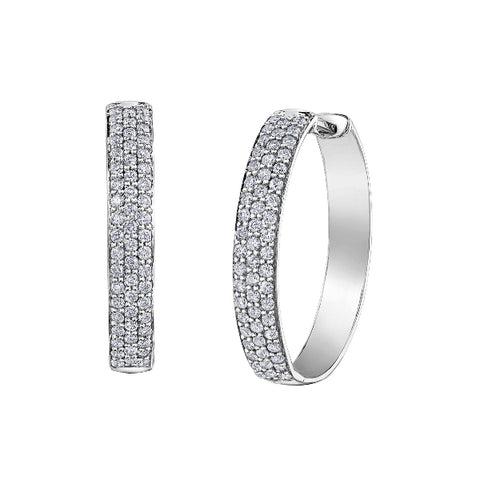 10k White Gold 0.50ctw Pave Diamond Hoop Earrings