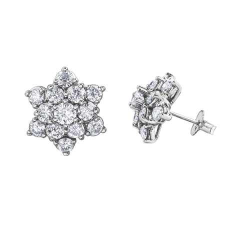 10k White Gold 2.00ctw Diamond Earrings