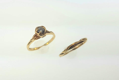 14k Yellow Gold Rose Solitaire Ring Set