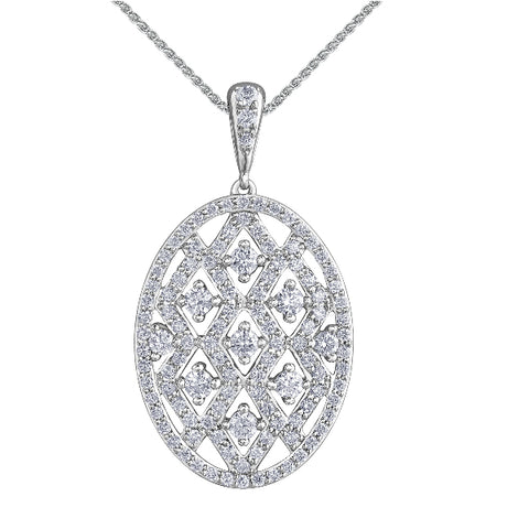 10k White Gold 1.00ctw Diamond Necklace