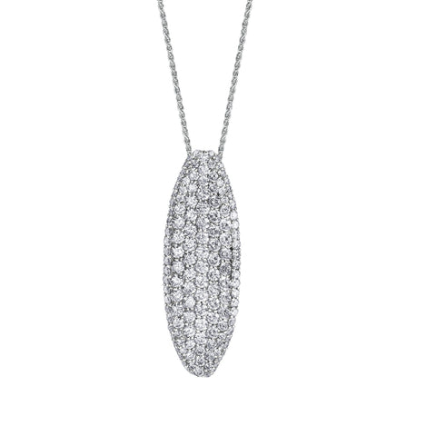 10k White Gold 2.10ctw Diamond Pave Necklace