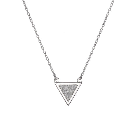 Sterling Silver Triangle Glitter Necklace