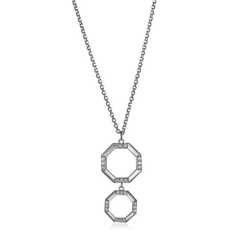 Sterling Silver Double Octagon Necklace