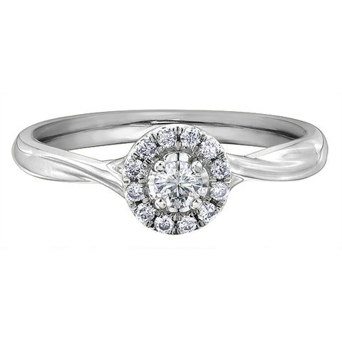 14k White Gold 0.75ctw Halo Engagement Ring