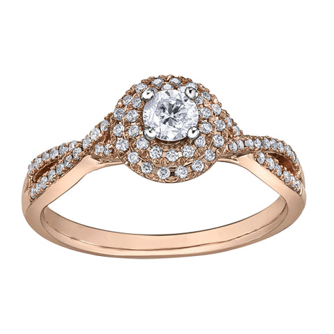 14k White & Rose Gold Fancy Halo Engagement Ring
