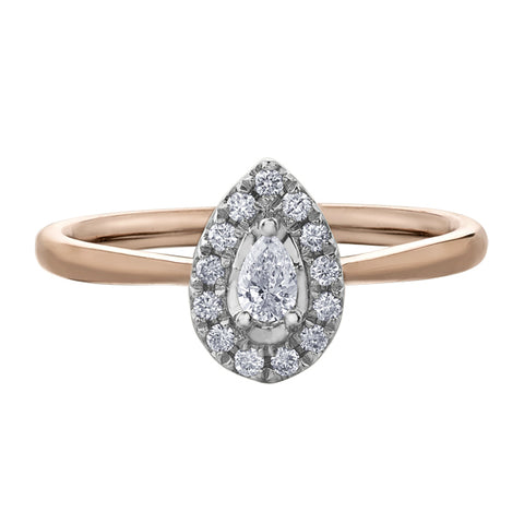 14k Yellow Gold 3 Stone Diamond Engagement Ring