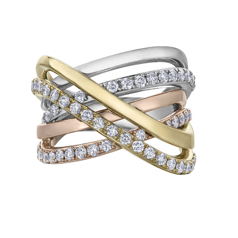 10k Tri Colored Gold 1.00ctw Diamond Ring