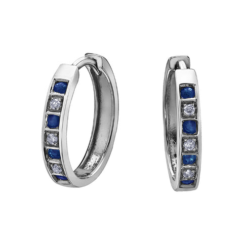 10k White Gold Diamond & Blue Sapphire Huggie Earrings