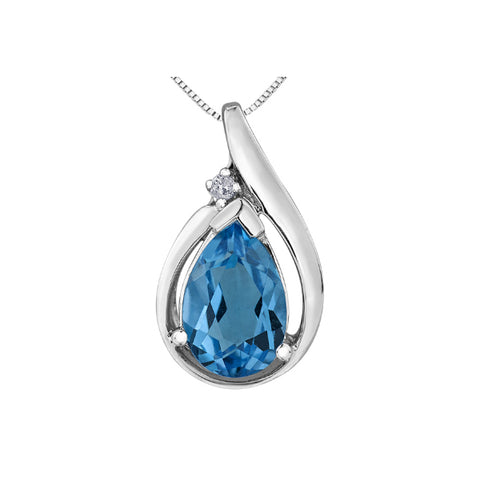 10k White Gold Blue Topaz & Diamond Necklace