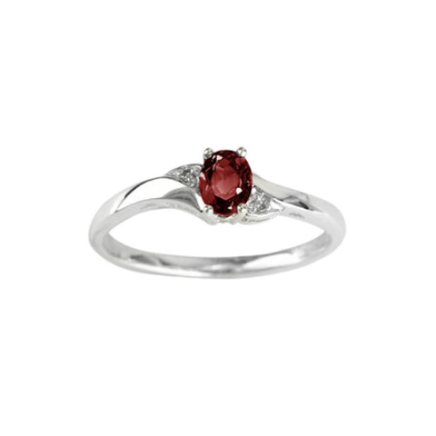 10k White Gold Birthstone & Diamond Ring