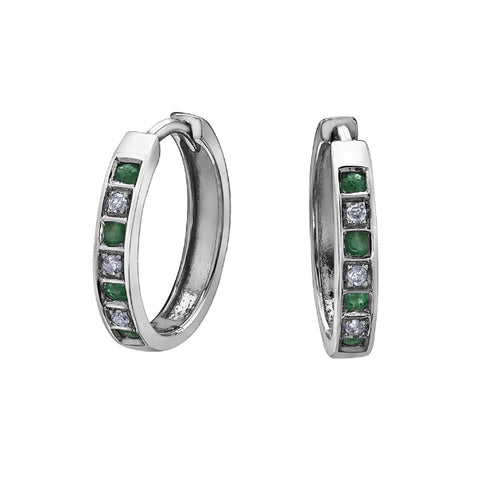 10k White Gold Diamond & Emerald Huggie Earrings