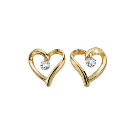 10k Yellow Gold & Diamond Heart Stud Earrings