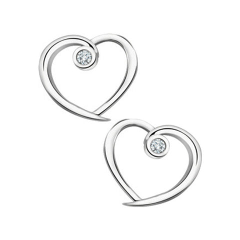 10k White Gold & Diamond Heart Earrings