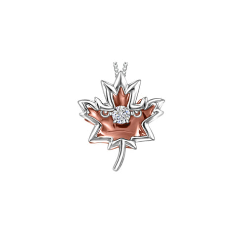 10k White & Rose Gold Canadian Diamond Maple Leaf Necklace