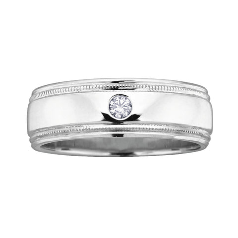 10k White Gold Mens Diamond Band