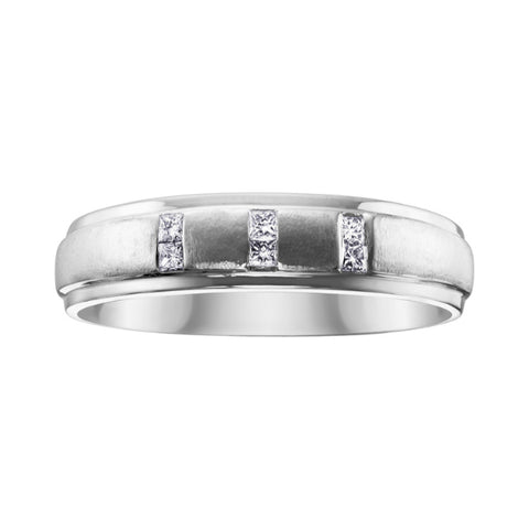 10k White Gold Mens Princess Cut Band