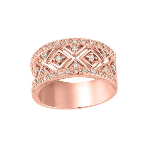 10k Rose Gold & Diamond Dinner Ring