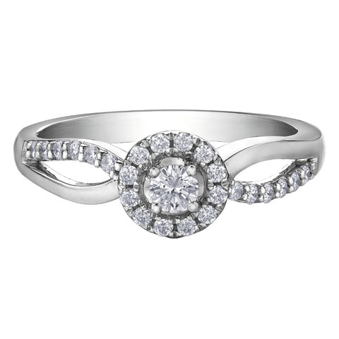 10k Rose & White Gold Pear Shaped Diamond Halo Engagement Ring