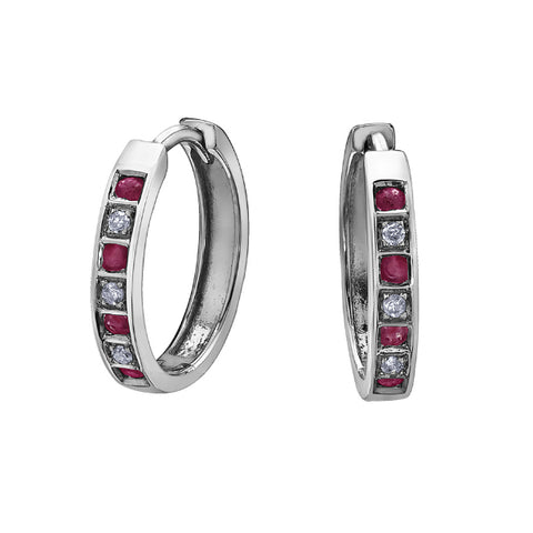 10k White Gold Diamond & Ruby Huggie Earrings