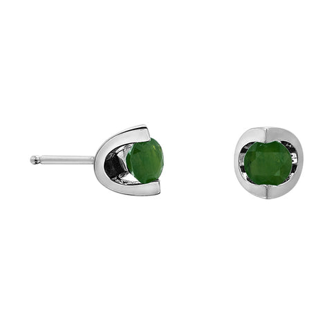 10k White Gold Emerald Earrings