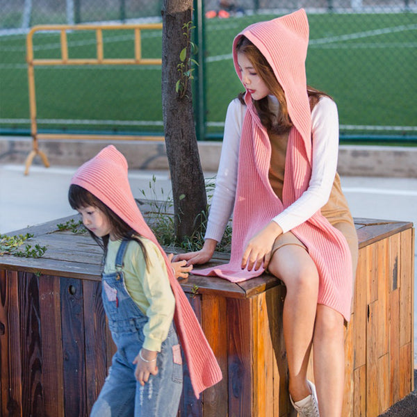 1Pcs Wool Hooded Scarf