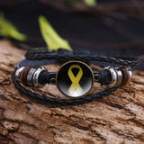 Endometriosis Awareness Yellow Ribbon Leather Bracelet