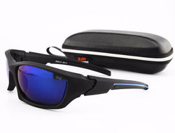 FRONTLINE High Impact Polarized Sunglasses (Black/Blue with Blue Lens)