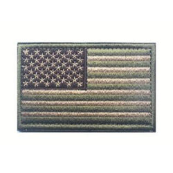 Embroidered American Flag Patch (Olive/Tan)