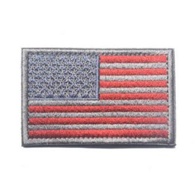 Embroidered American Flag Patch (Silver Colored)