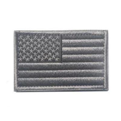 Embroidered American Flag Patch (Grey)