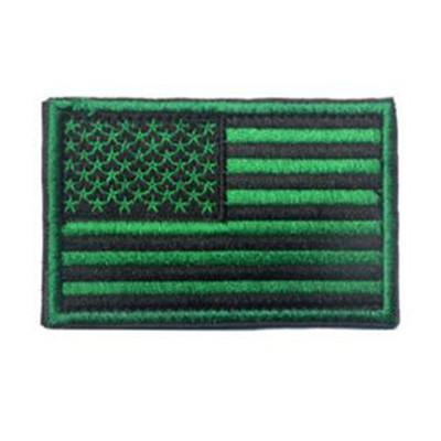 Embroidered American Flag Patch (Green)